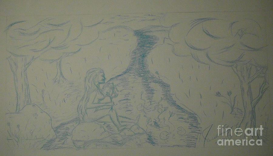 Nude Drawing - Cloud Tree Pond by James Eye