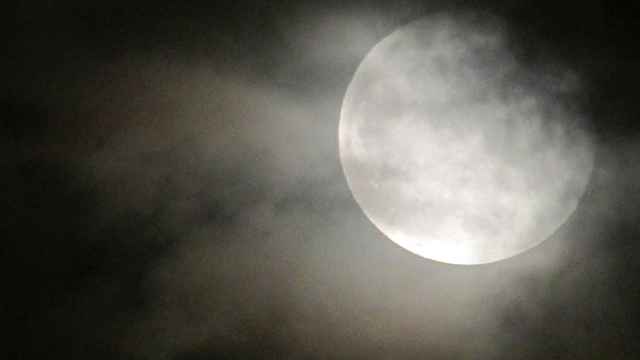 Moon Photograph - Clouded Moon by Jason Denis