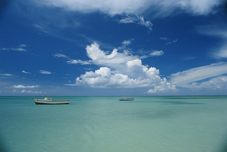 Atlantic Islands Photograph - Clouds And Boats, Aruba by Skip Brown