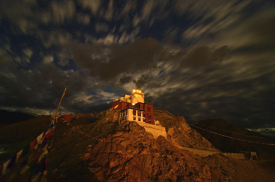 Monastery Photograph - Clouds And Stars Over Tsemo by Aaron Bedell