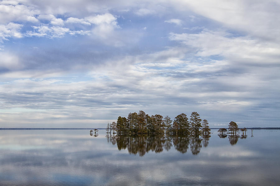 Clouds Reflected On Lake Mattamuskeet In Eastern North Carolina Photograph