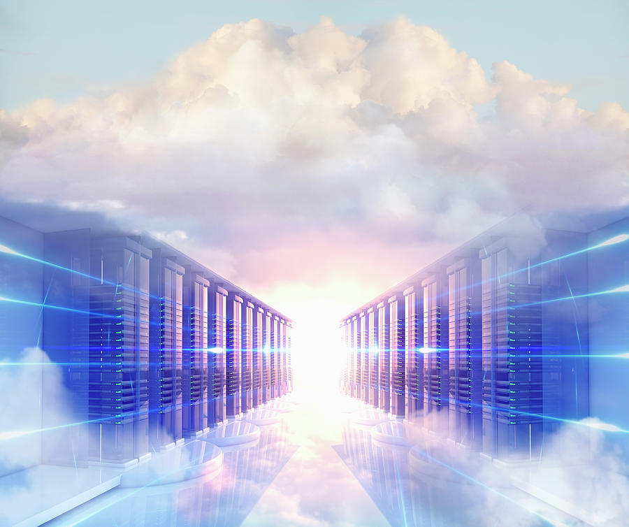 Clouds In Server Room Photograph by Colin Anderson Productions Pty Ltd