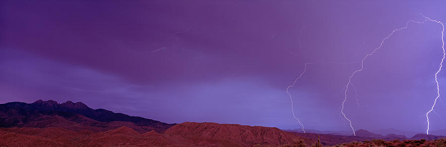 Color Image Photograph - Clouds Lightning Over The Mountains, Mt by Panoramic Images