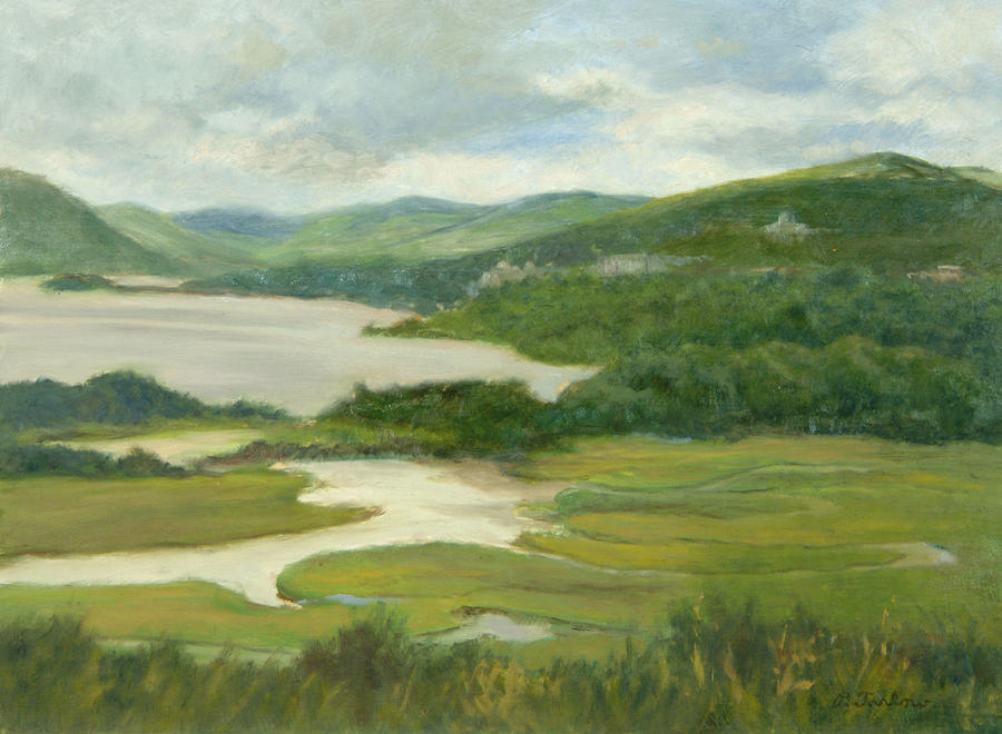 Oil Landscape Painting - Clouds Over Constitution Marsh by Phyllis Tarlow