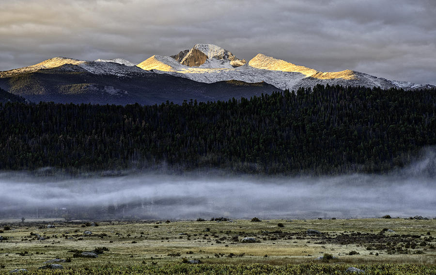 Longs Peak Photograph - Clouds Over Longs Peak by Tom Wilbert
