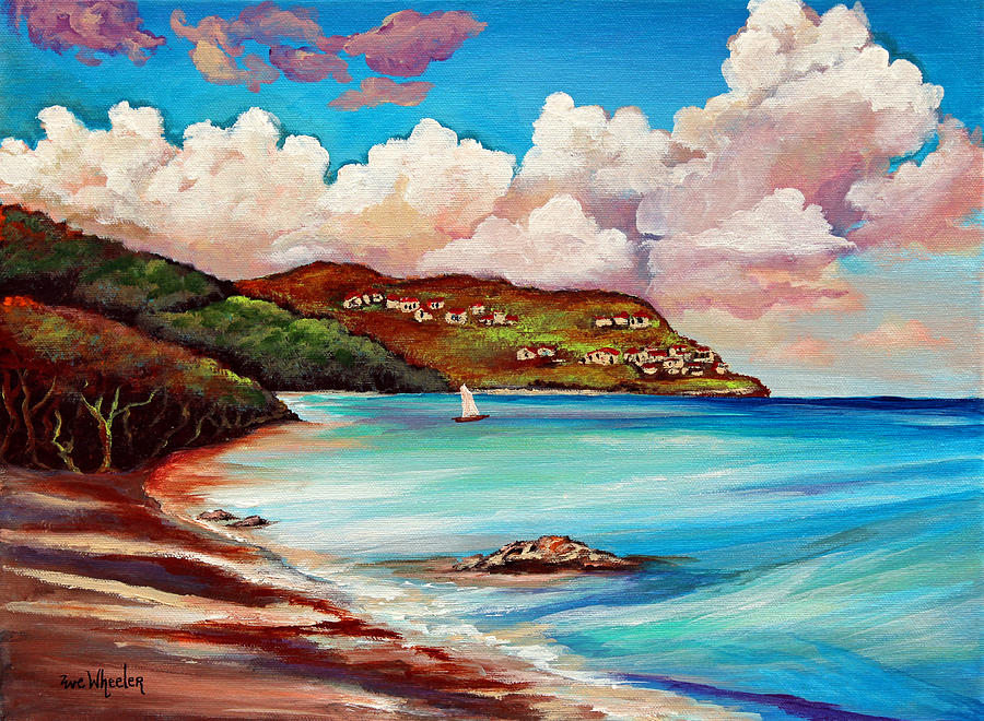 St. John Painting - Clouds Over Paradise by Eve  Wheeler