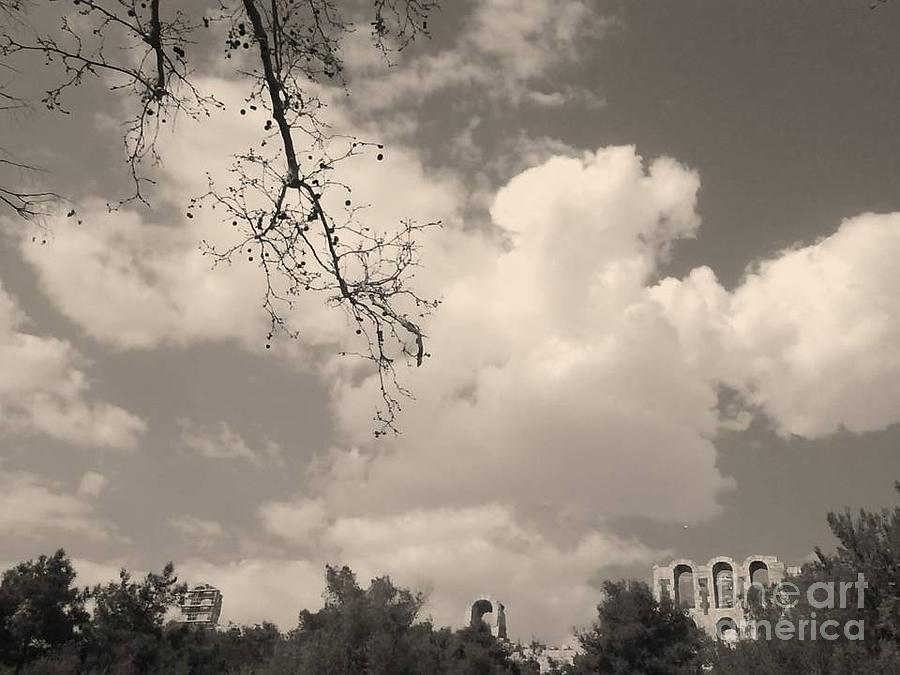 Acropolis Photograph - Clouds -shapes In Black-1 by Katerina Kostaki