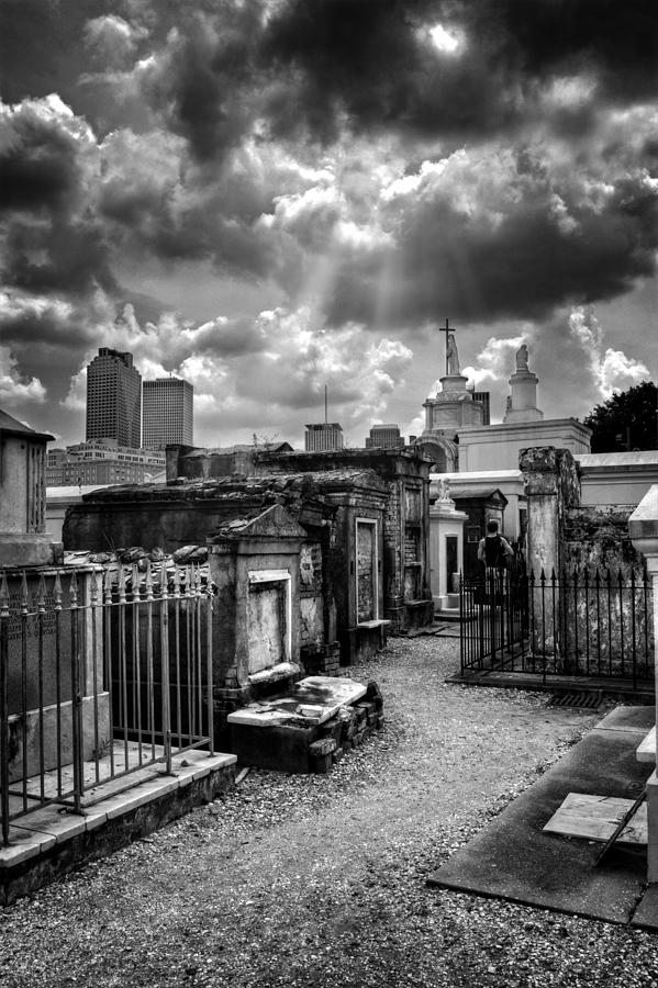 Path Photograph - Cloudy Day At St. Louis Cemetery In Black And White by Greg and Chrystal Mimbs