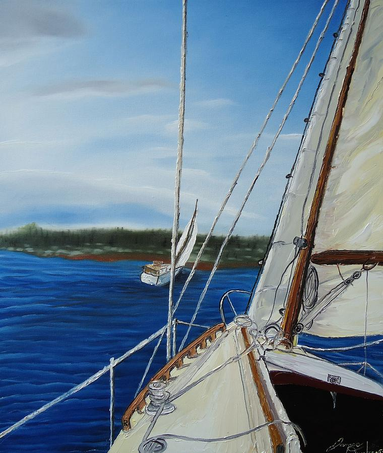 Sail Boats Painting - Cloudy Day Sailing Boats by Portland Art Creations