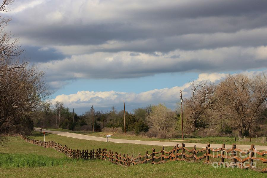 Fence Photograph - Cloudy Sky With A Log Fence by Robert D  Brozek