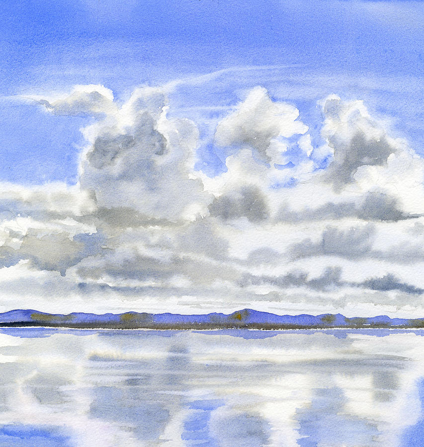 Watercolor Painting - Cloudy Sky with Reflections by Sharon Freeman