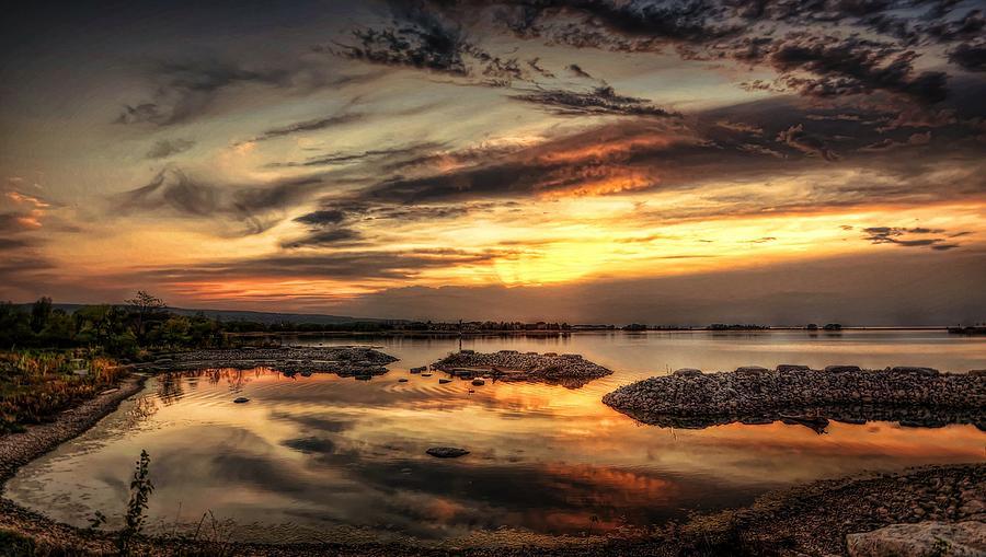 Beach Digital Art - Cloudy Sunset by Jeff S PhotoArt