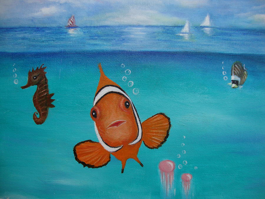 Clown fish and friends painting by deby kalush for How to paint a fish