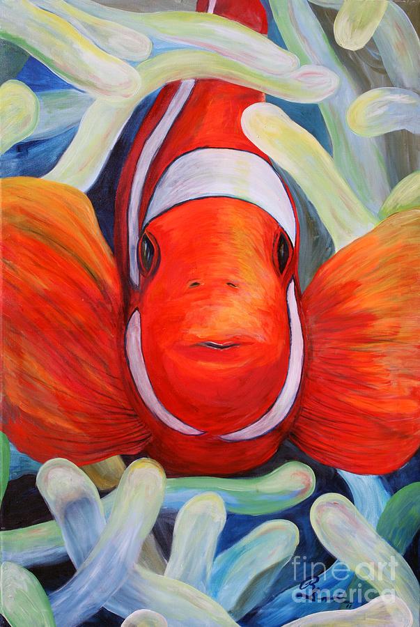 Clown Fish Painting by Robert Schippnick