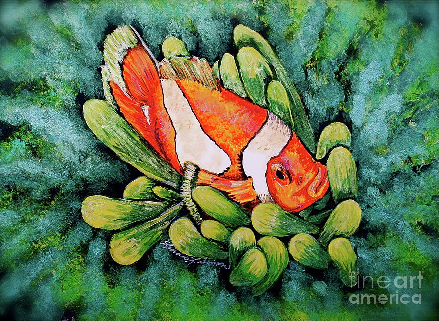 Fish Mixed Media - Clown In The Anemone by Linda Simon