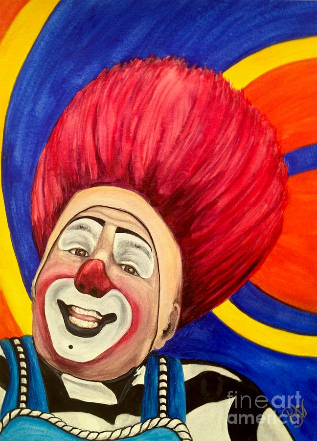Watercolor Clown Painting - Watercolor Clown #17 Mark Carfora by Patty Vicknair