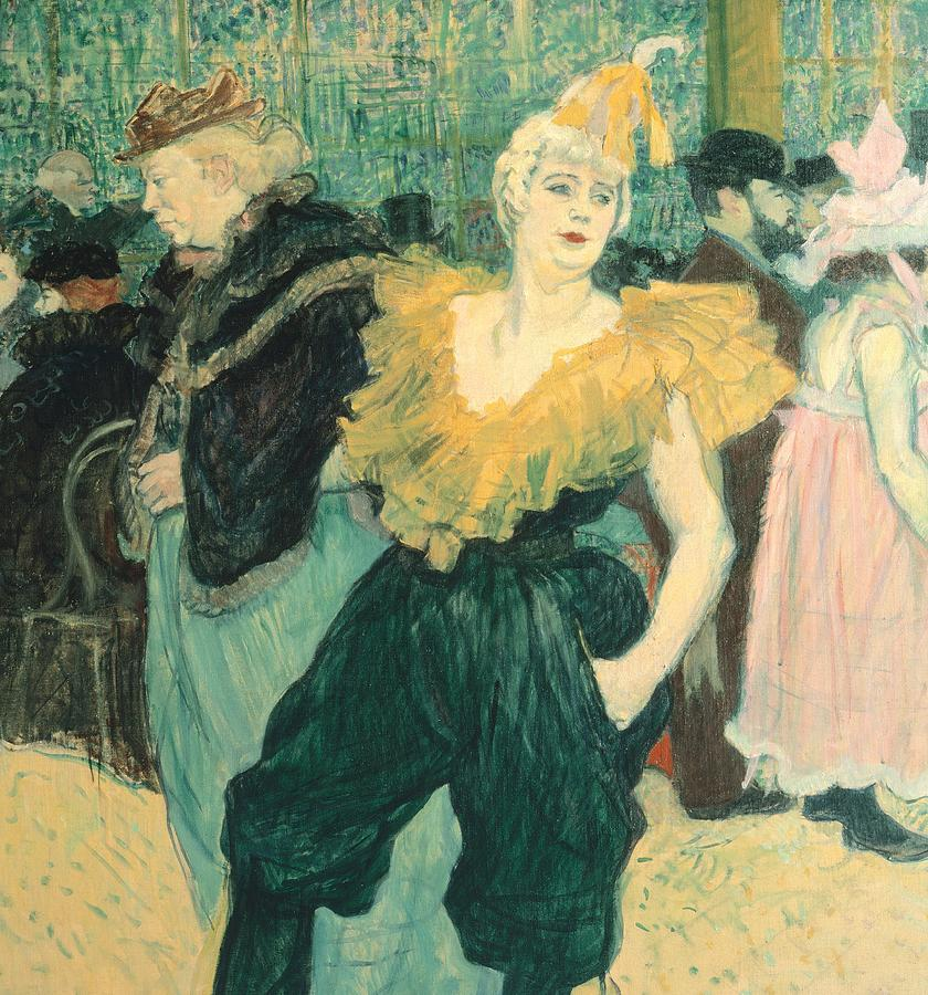 Post-impressionist Painting - Clowness Cha-u-kao At Moulin Rouge by Henri de Toulouse Lautrec