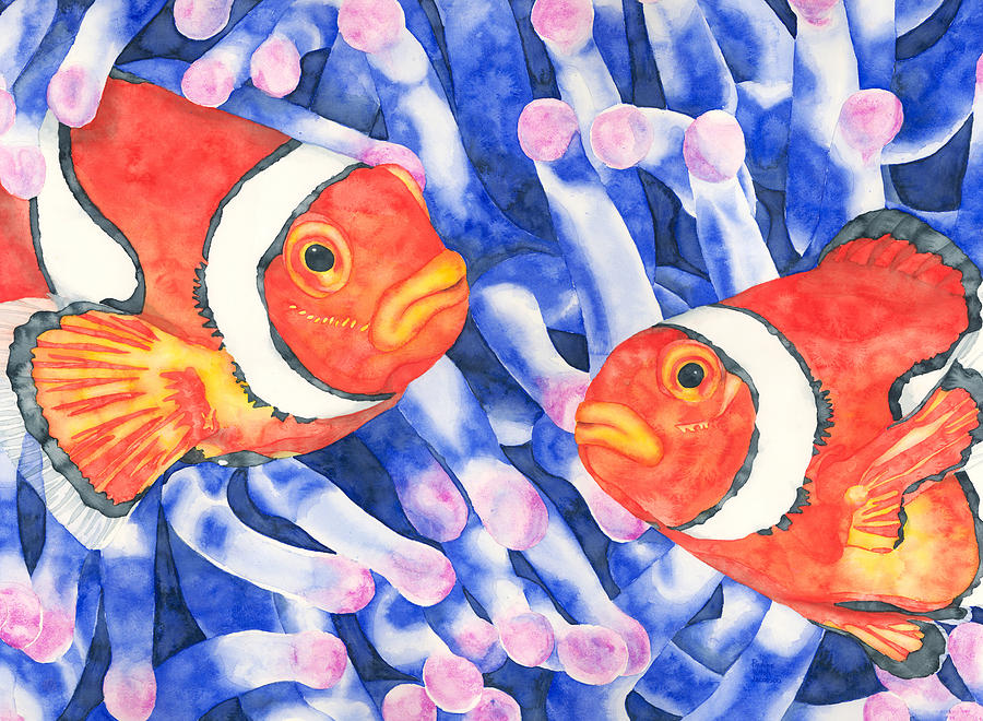 Watercolor Painting Painting - Clownfish Couple by Pauline Walsh Jacobson