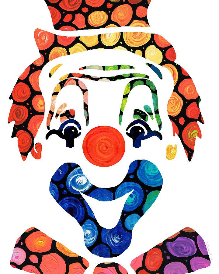 Clown Painting - Clownin Around - Funny Circus Clown Art by Sharon Cummings