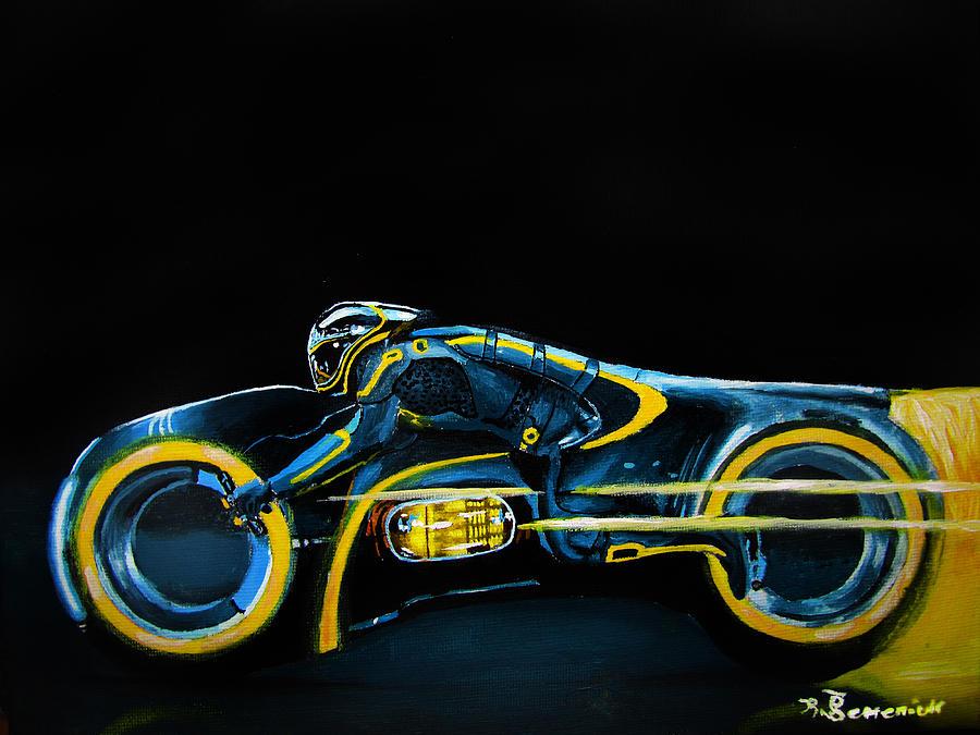 Clu Painting - Clus Lightcycle by Kayleigh Semeniuk