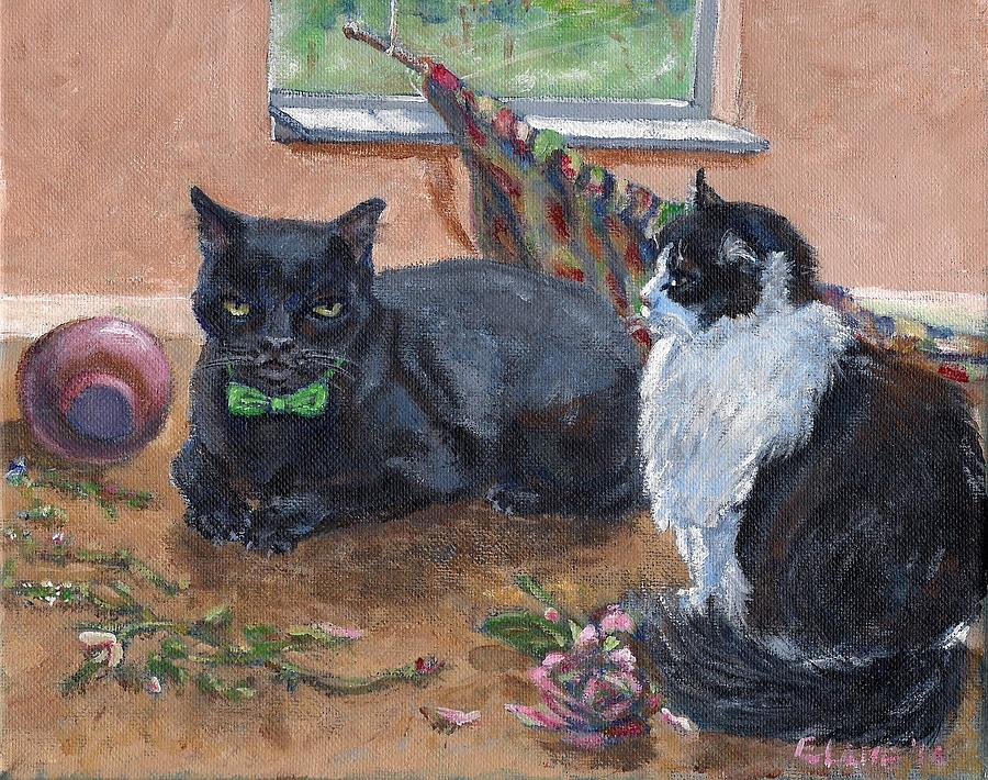 Black Cat Painting - Clutching The Fly by Elizabeth Lane