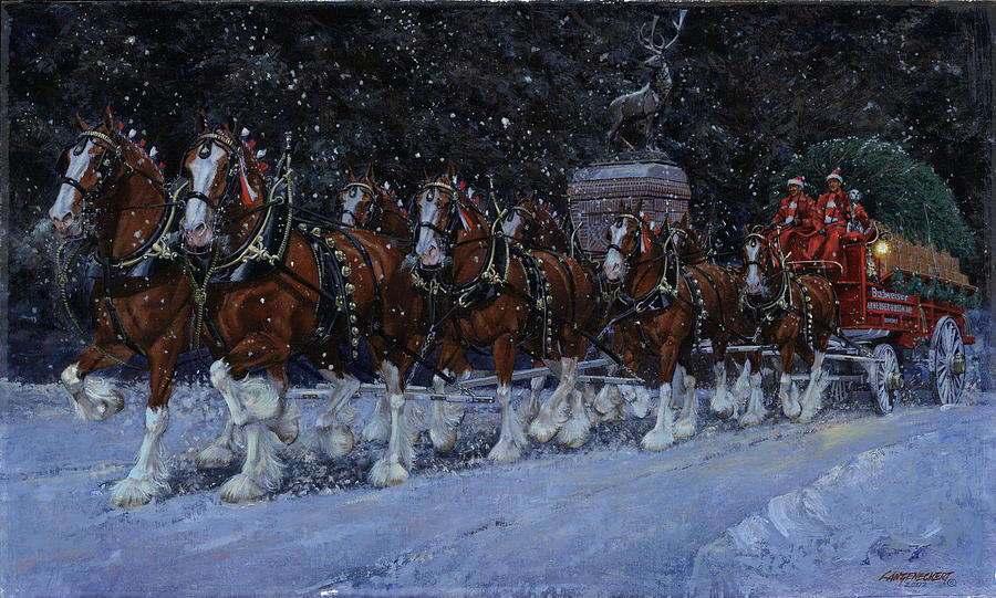 clydesdales coming through the gate snowing painting by