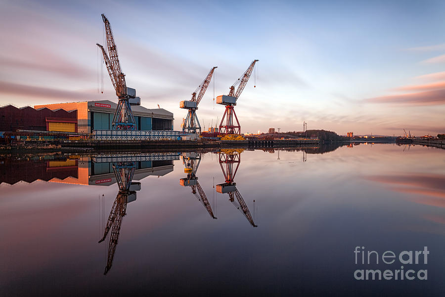 Glasgow Photograph - Clydeside Cranes Long Exposure by John Farnan