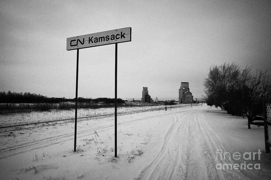 Station Photograph - Cn Canadian National Railway Tracks And Grain Silos Kamsack Saskatchewan Canada by Joe Fox