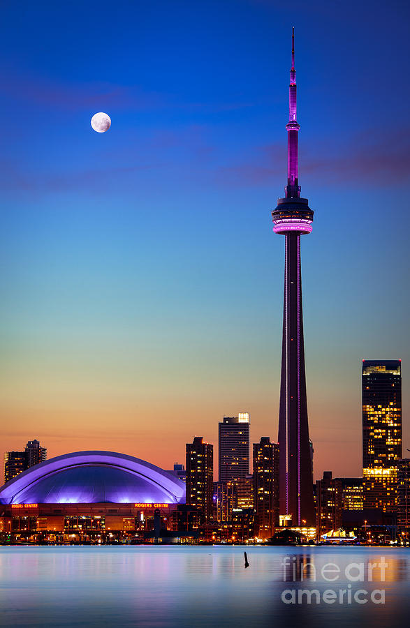 America Photograph - CN Tower at Dusk by Inge Johnsson