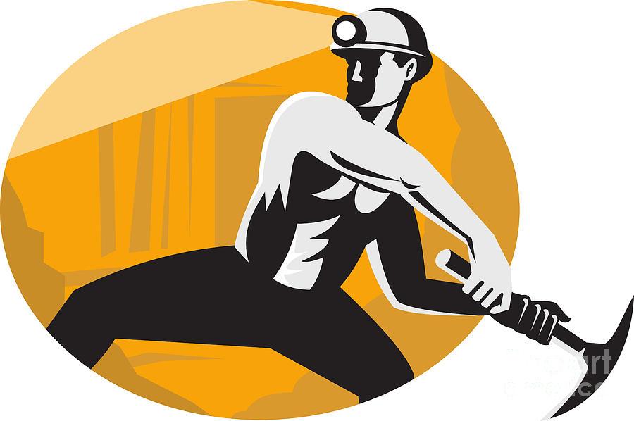 Coal Miner Digital Art - Coal Miner With Pick Ax Striking Retro by Aloysius Patrimonio