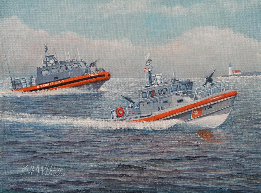 Boats Painting - Coast Guard Lri And Rb-m by William H RaVell III