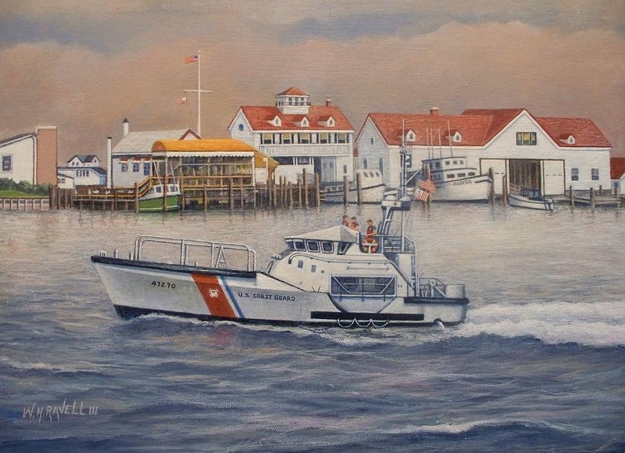 Coast Guard Painting - Coast Guard Station by William H RaVell III