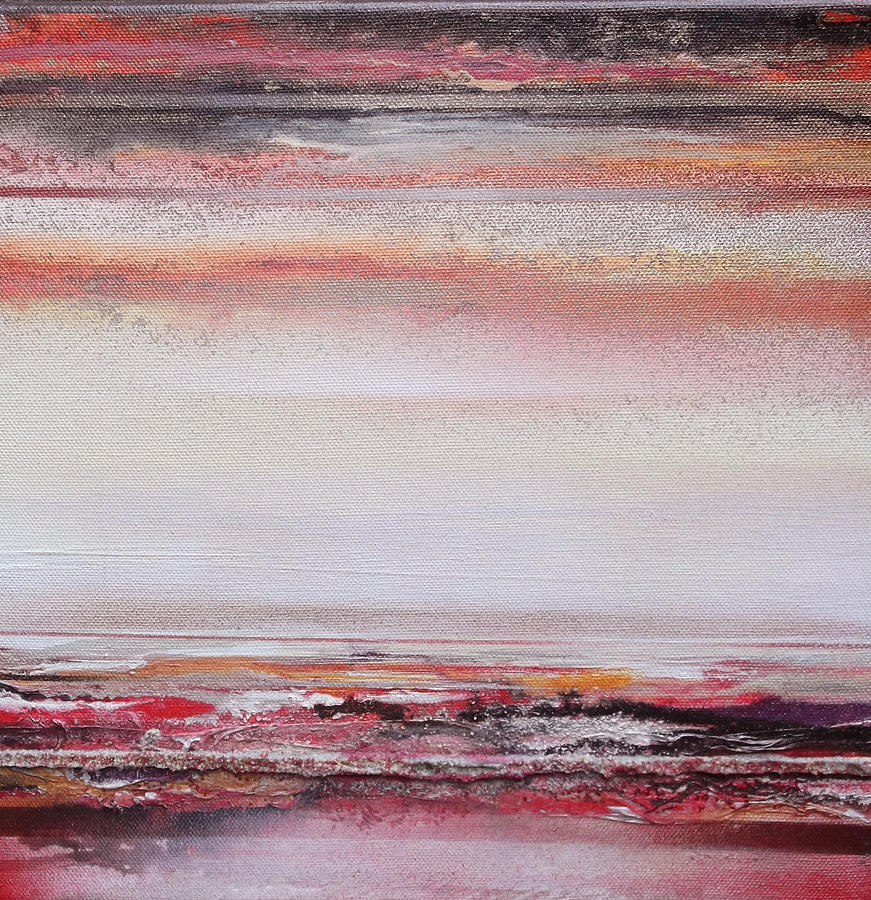 Red Mixed Media - Coast Rhythms And Textures Red And Black 1 by Mike   Bell