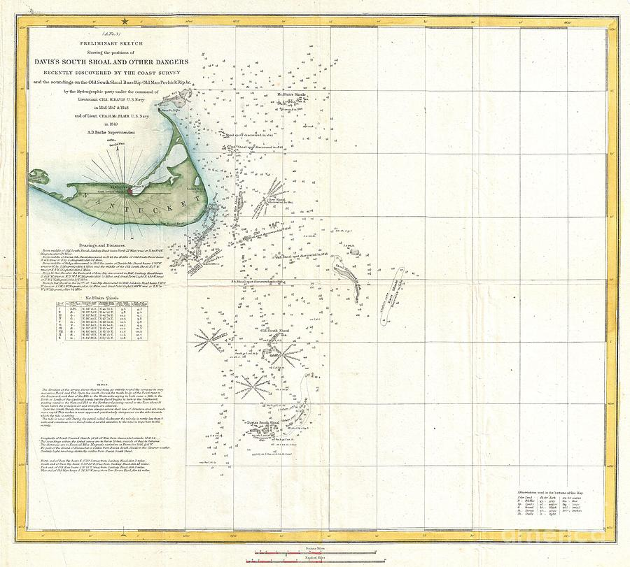 Massachusetts Photograph - Coast Survey Map Of Nantucket And The Davis Shoals by Paul Fearn