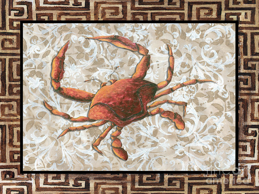 Coastal Painting - Coastal Crab Decorative Painting Greek Border Design By Madart Studios by Megan Duncanson