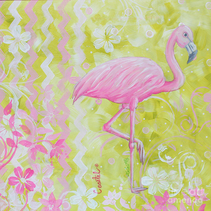 Coastal Decorative Pink Green Floral Chevron Pattern Art Flamingo ...