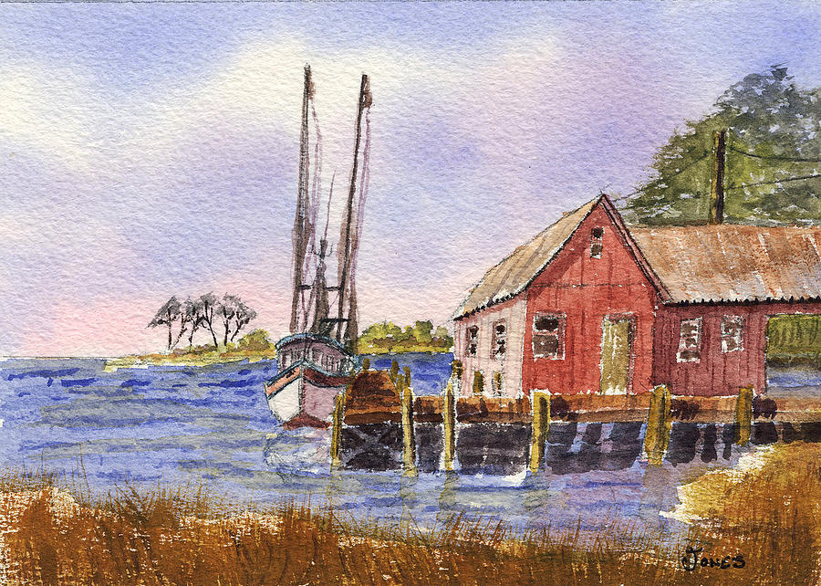 Original Watercolor Painting - Shrimp Boat - Boat House - Coastal Dock by Barry Jones