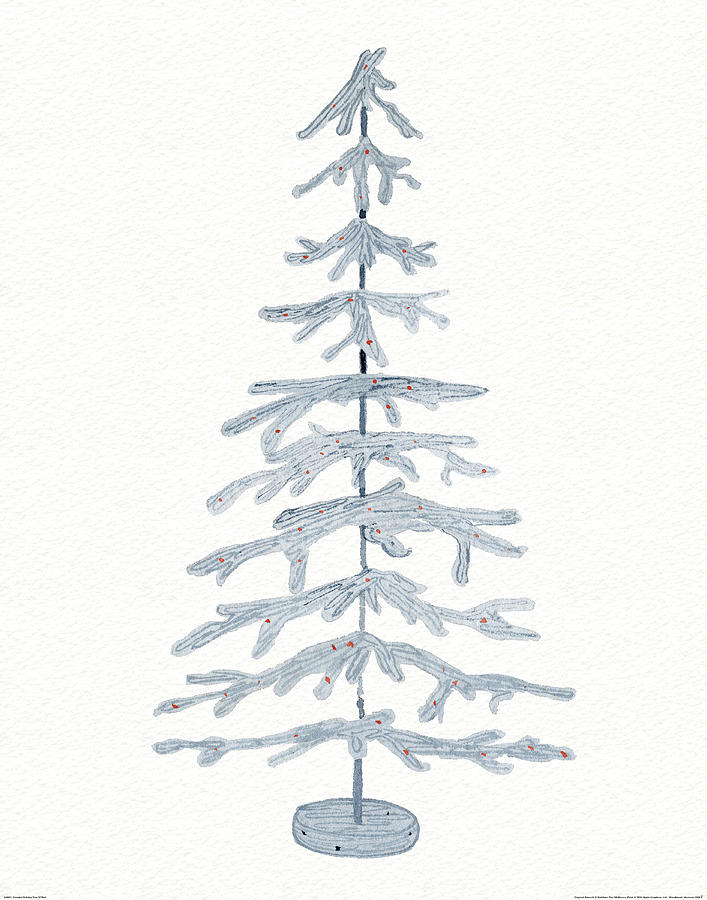 Blue Painting - Coastal Holiday Tree Iv Red by Kathleen Parr Mckenna