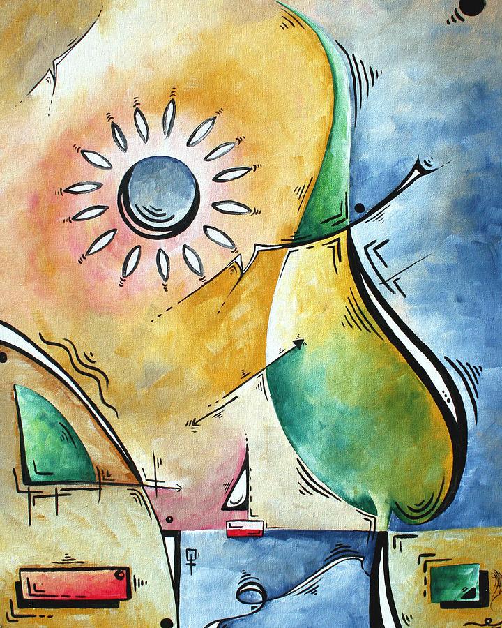 Coastal Nautical Abstract Pop Art Original Painting Sailors Sunset By Madart