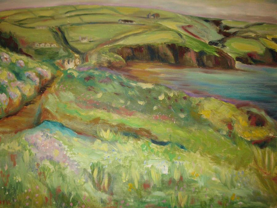 Landscape Painting - Coastal Path In Wales by Ellen Howell