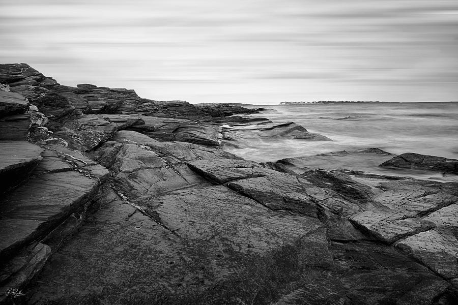 Beavertail Photograph - Coastal Rocks Black And White by Lourry Legarde