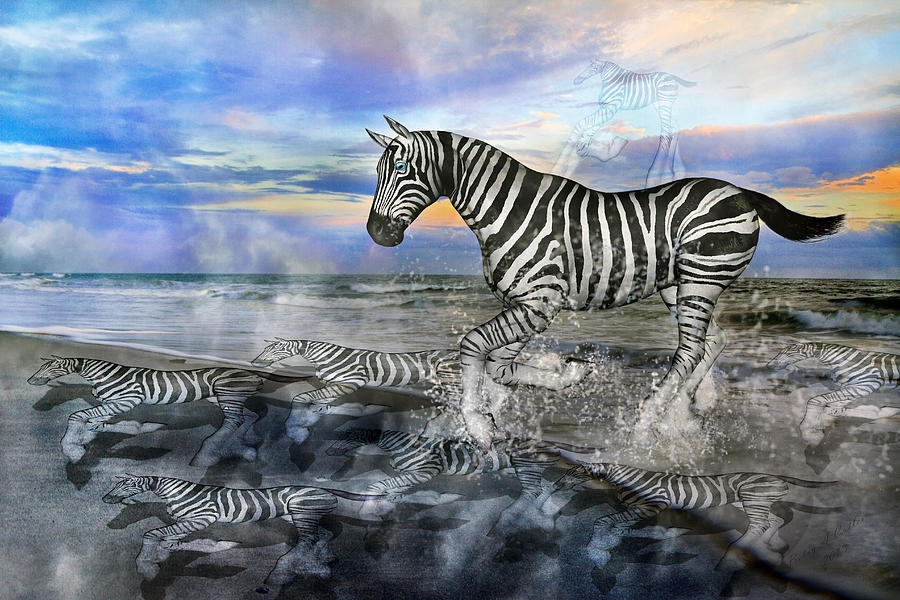 Zebra Mixed Media - Coastal Stripes I by Betsy Knapp