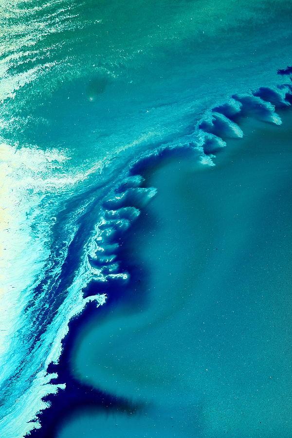 coastal surf blue abstract waves by kredart painting by serg wiaderny