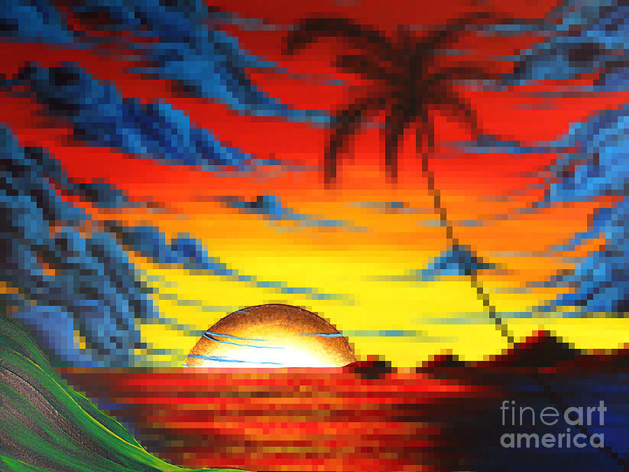 Tropical Painting - Coastal Tropical Abstract Colorful Pixel Art Digital Painting Compilation Tropical Bliss By Madart by Megan Duncanson