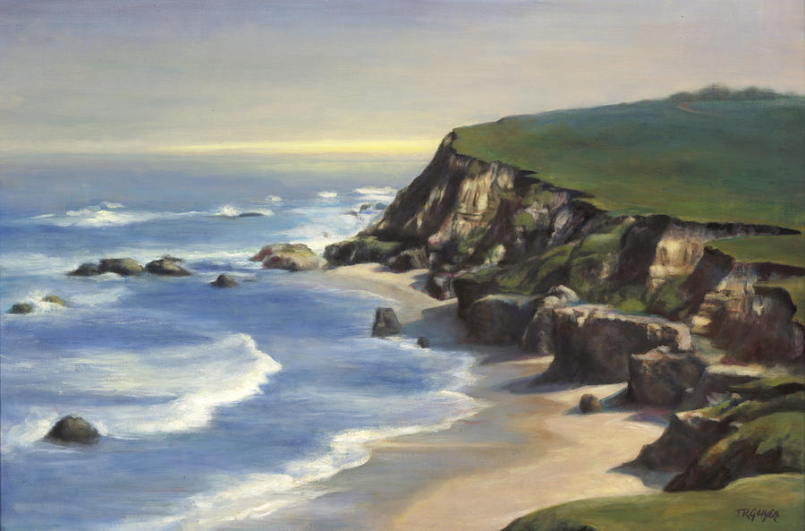 Seascape Painting - Coastline Half Moon Bay by Terry Guyer