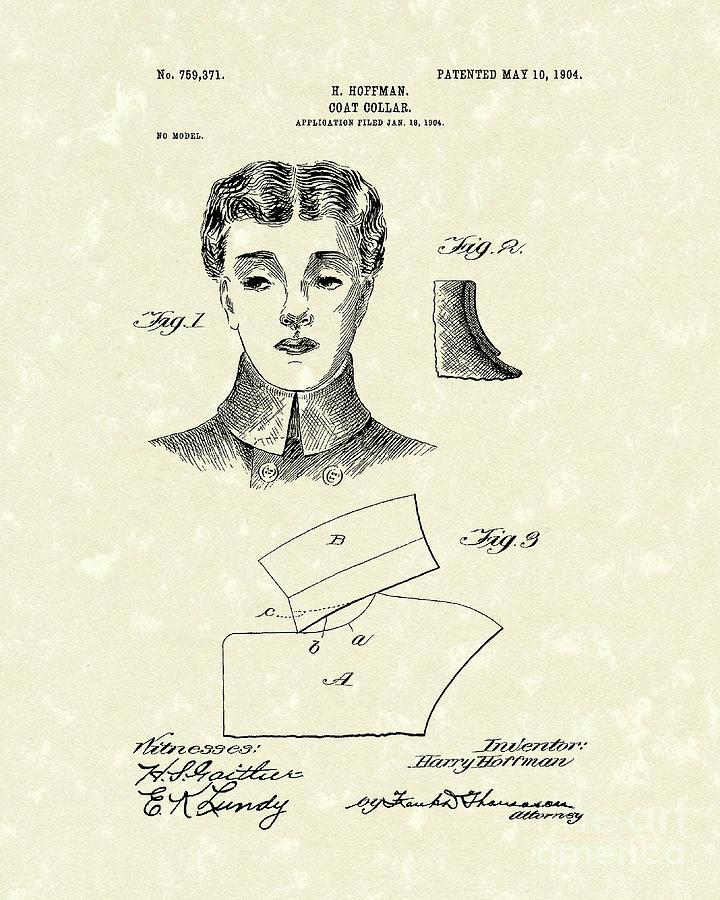 Hoffman Drawing - Coat Collar 1904 Patent Art by Prior Art Design