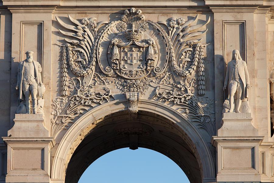 Rua Photograph - Coat Of Arms Of Portugal On Rua Augusta Arch In Lisbon by Artur Bogacki