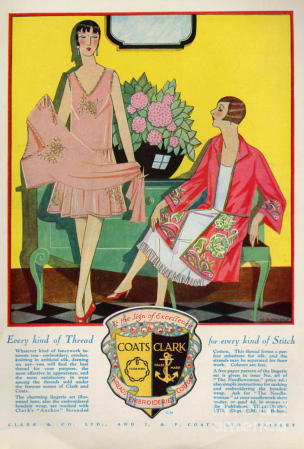 1920s Drawing - Coats And Clark  1920s Uk Art Deco by The Advertising Archives