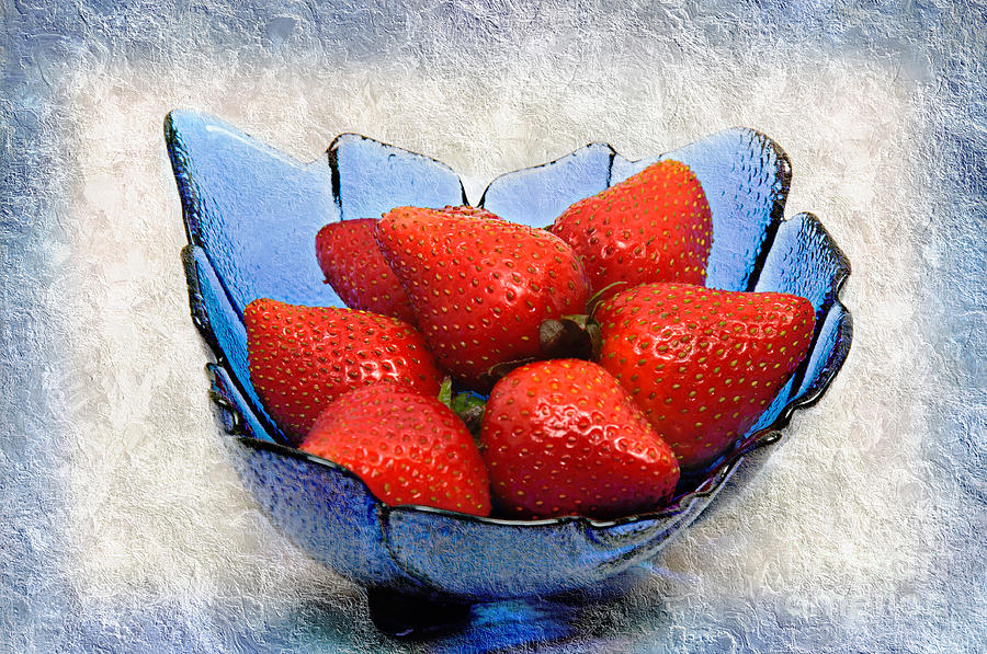 Strawberry Photograph - Cobalt Blue Berry Boat by Andee Design