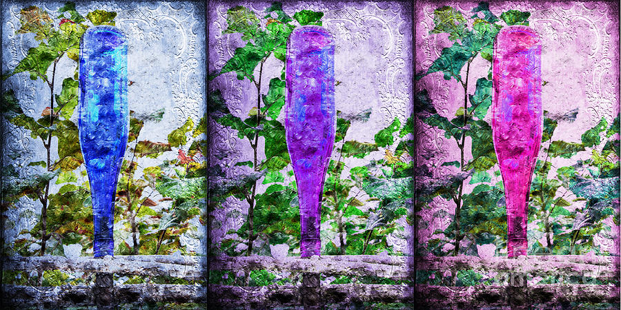 Collage Photograph - Cobalt Blue Purple And Magenta Bottles Collage by Andee Design